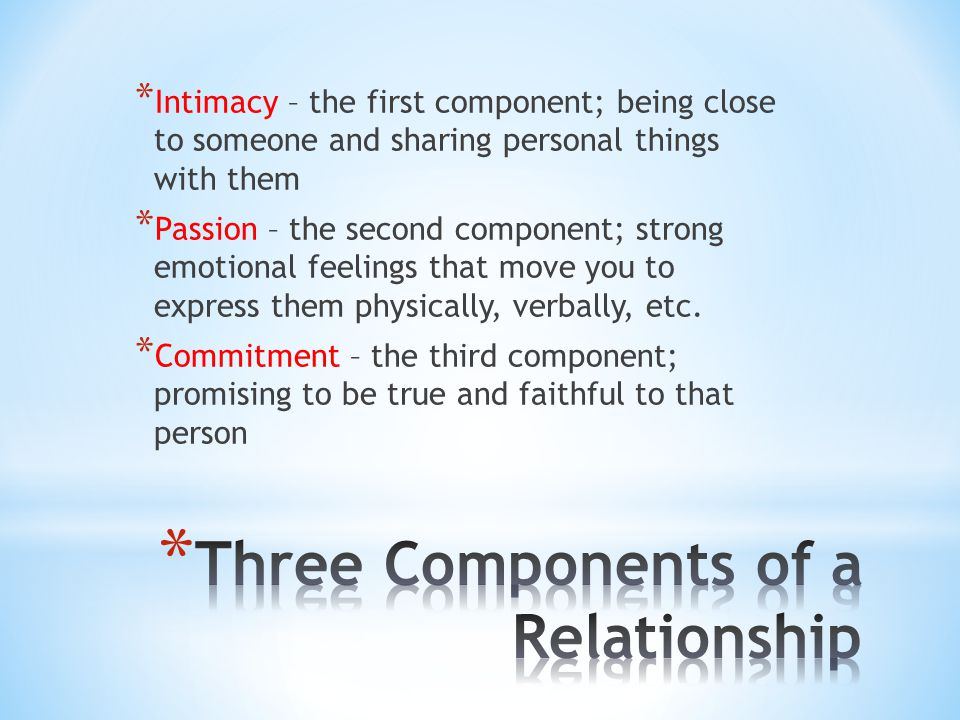 Three Components of a Relationship
