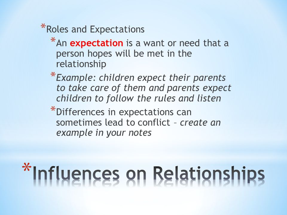 Influences on Relationships