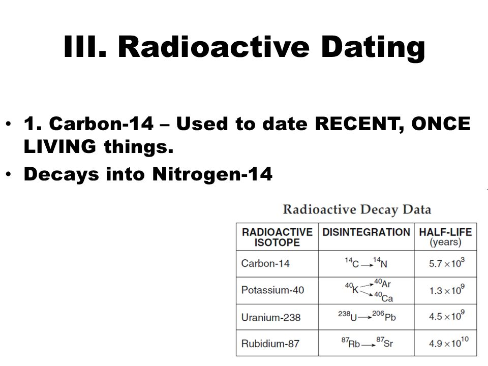 Radiometric dating, radioactive dating or radioisotope dating is a technique used to date materials such as rocks or carbon, in which trace radioactive impurities.