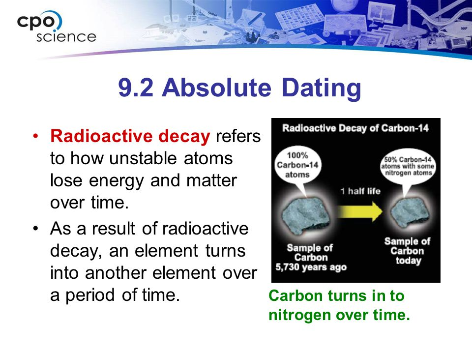 9.2 Absolute Dating Radioactive decay refers to how unstable atoms lose energy and matter over time.