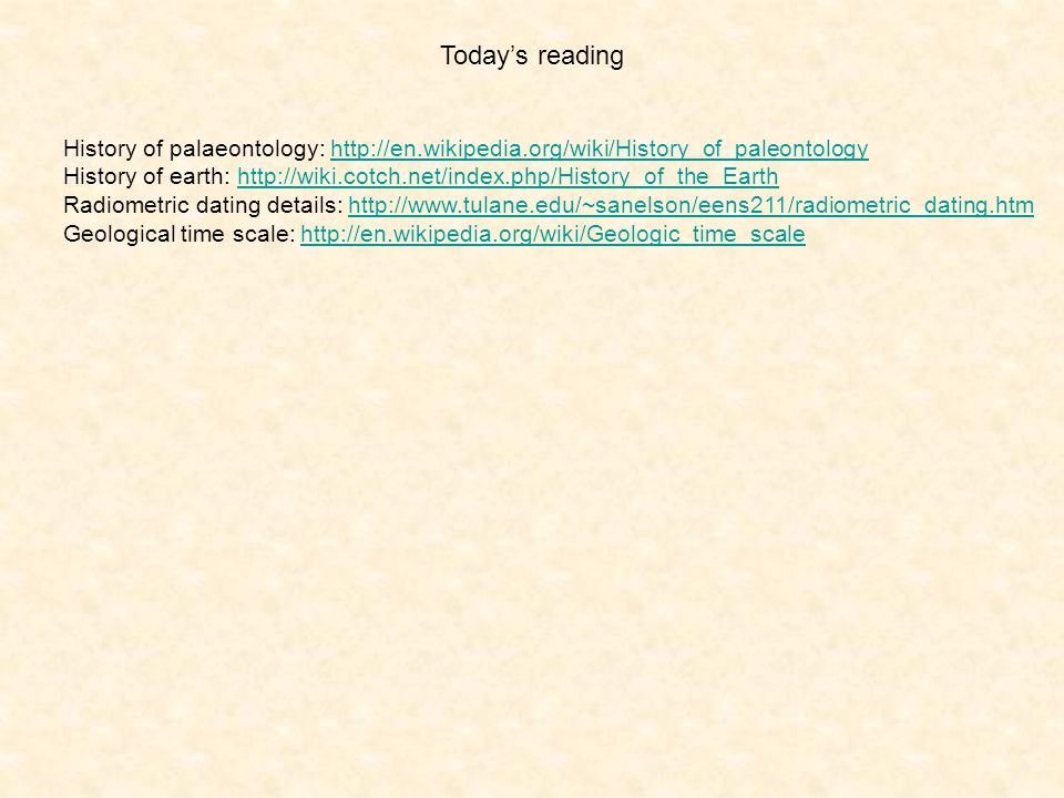 Today's reading History of palaeontology: http://en.wikipedia.org/wiki/History_of_paleontology.