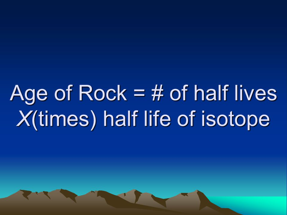 Age of Rock = # of half lives X(times) half life of isotope