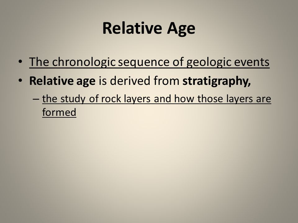 Relative Age The chronologic sequence of geologic events
