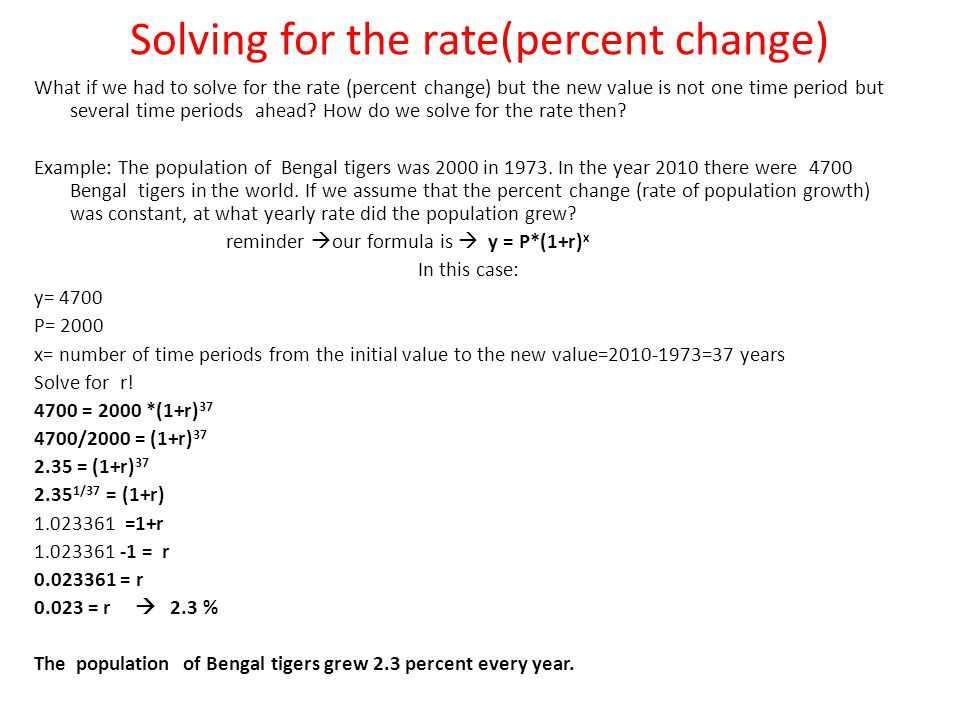 Solving for the rate(percent change)