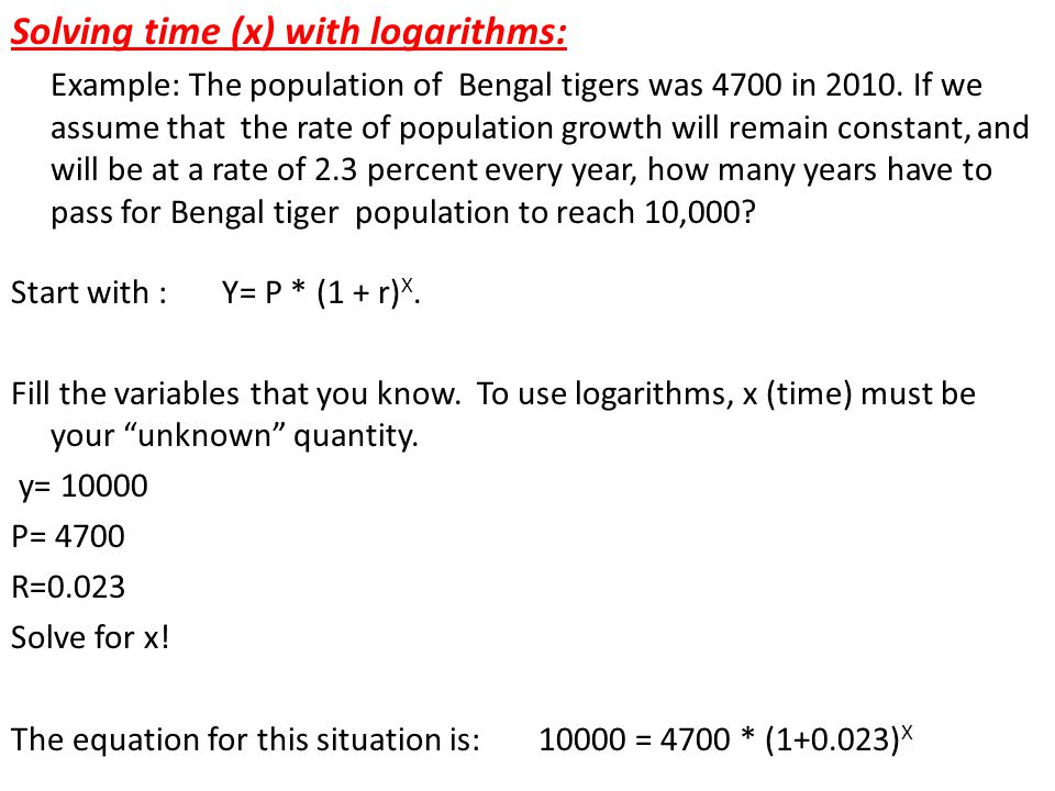 Solving time (x) with logarithms: