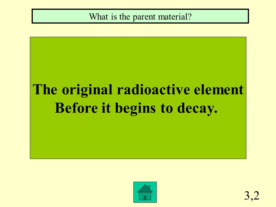 The original radioactive element Before it begins to decay.