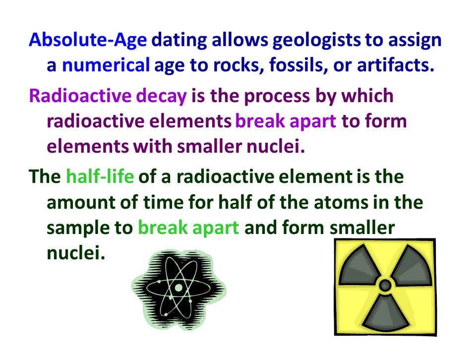 Absolute age dating of rocks