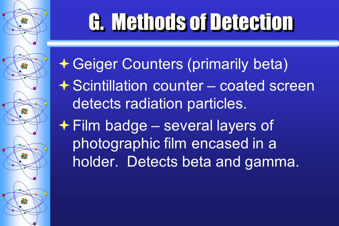 G. Methods of Detection Geiger Counters (primarily beta)