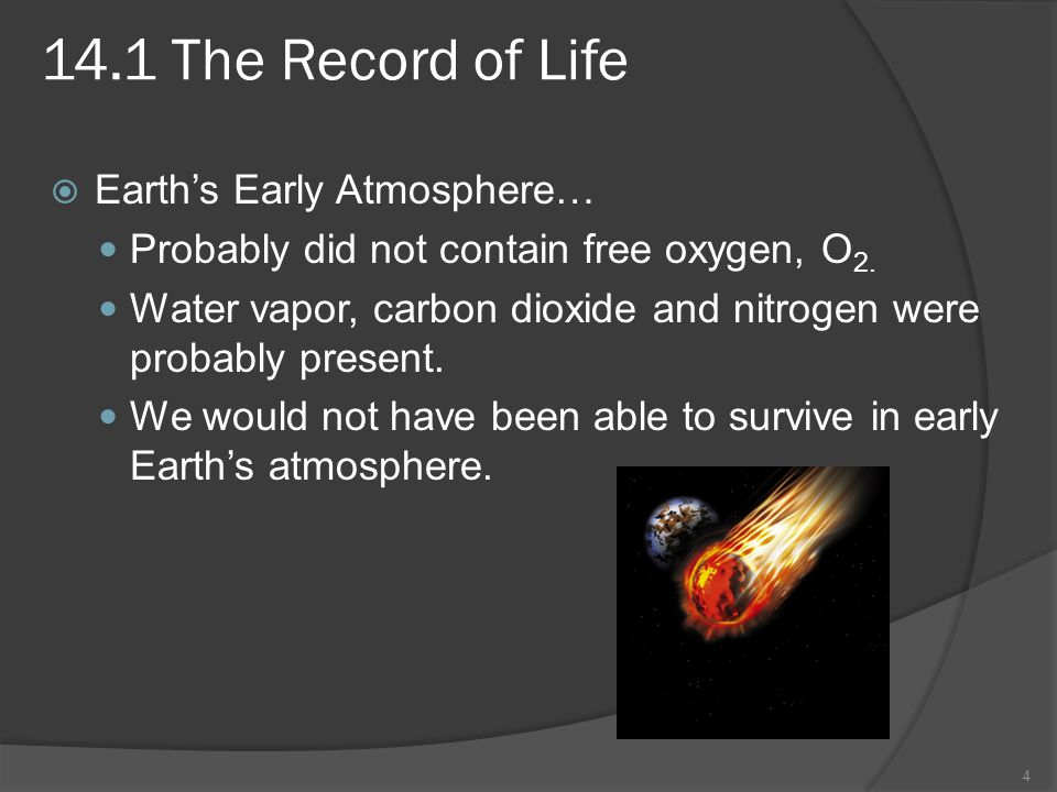 14.1 The Record of Life Earth's Early Atmosphere…