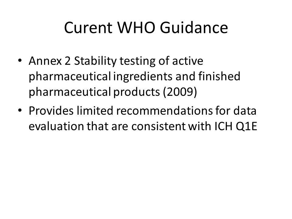 Curent WHO Guidance Annex 2 Stability testing of active pharmaceutical ingredients and finished pharmaceutical products (2009)