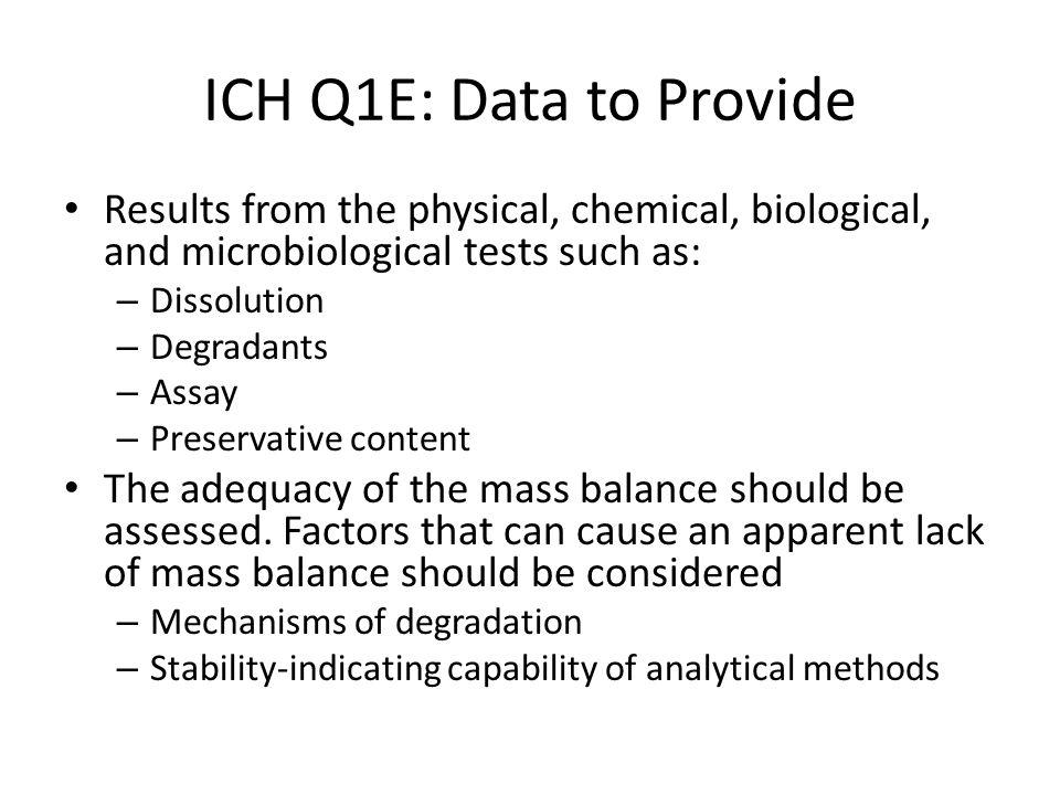 ICH Q1E: Data to Provide Results from the physical, chemical, biological, and microbiological tests such as: