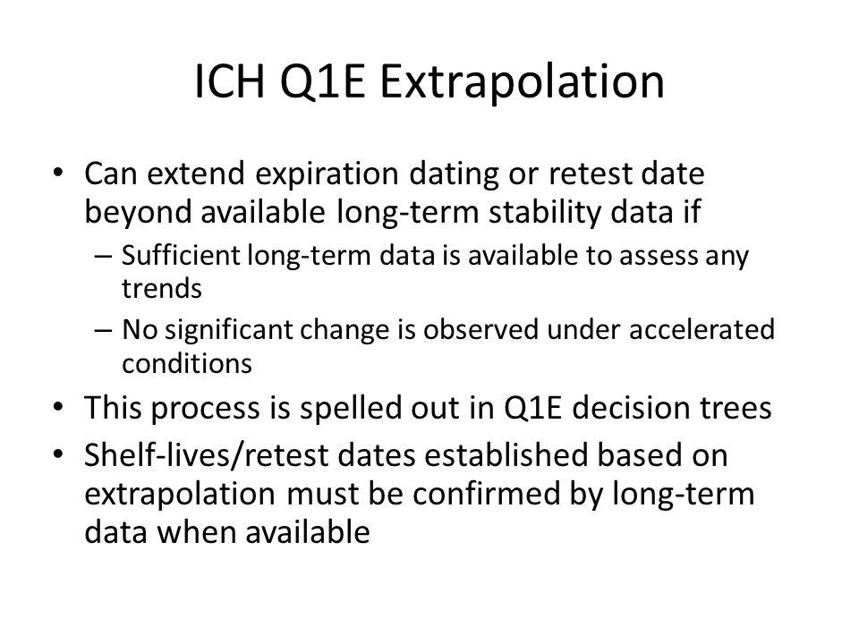 ICH Q1E Extrapolation Can extend expiration dating or retest date beyond available long-term stability data if.