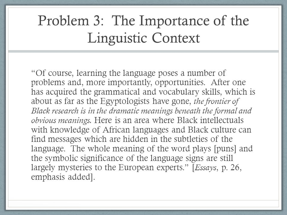 Problem 3: The Importance of the Linguistic Context