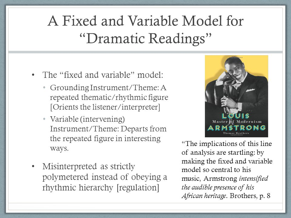 A Fixed and Variable Model for Dramatic Readings