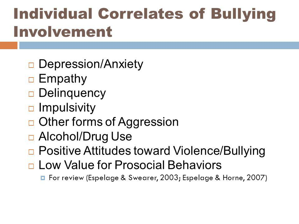 Individual Correlates of Bullying Involvement