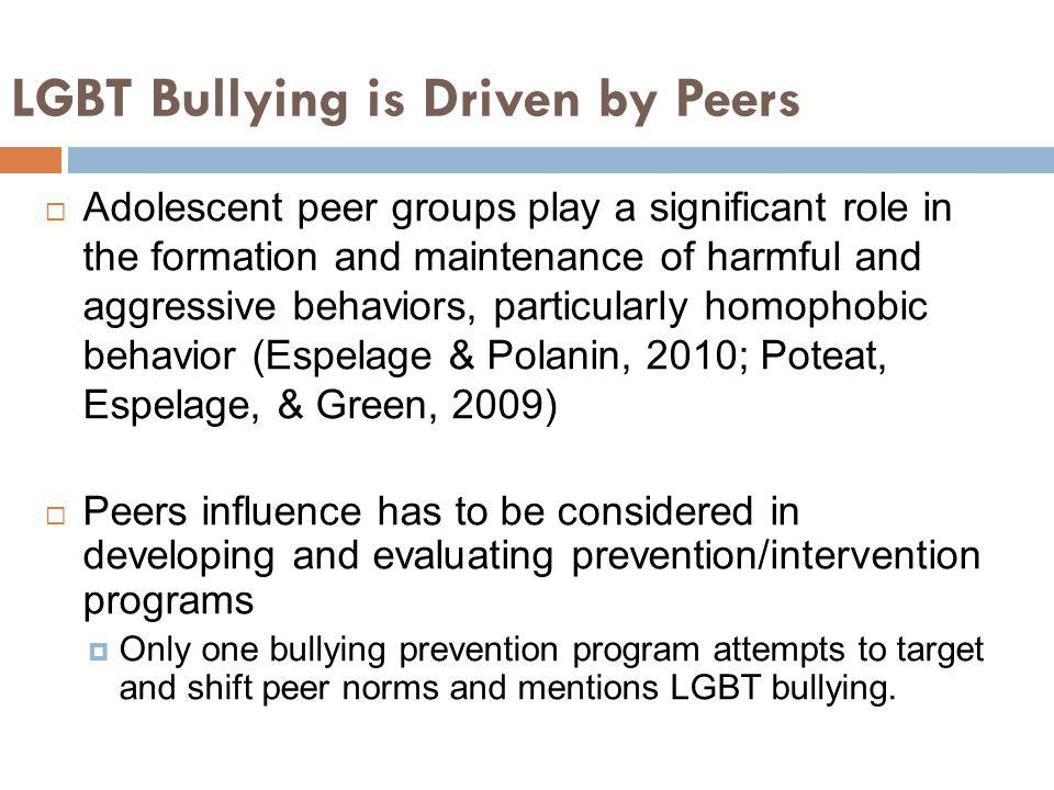 LGBT Bullying is Driven by Peers