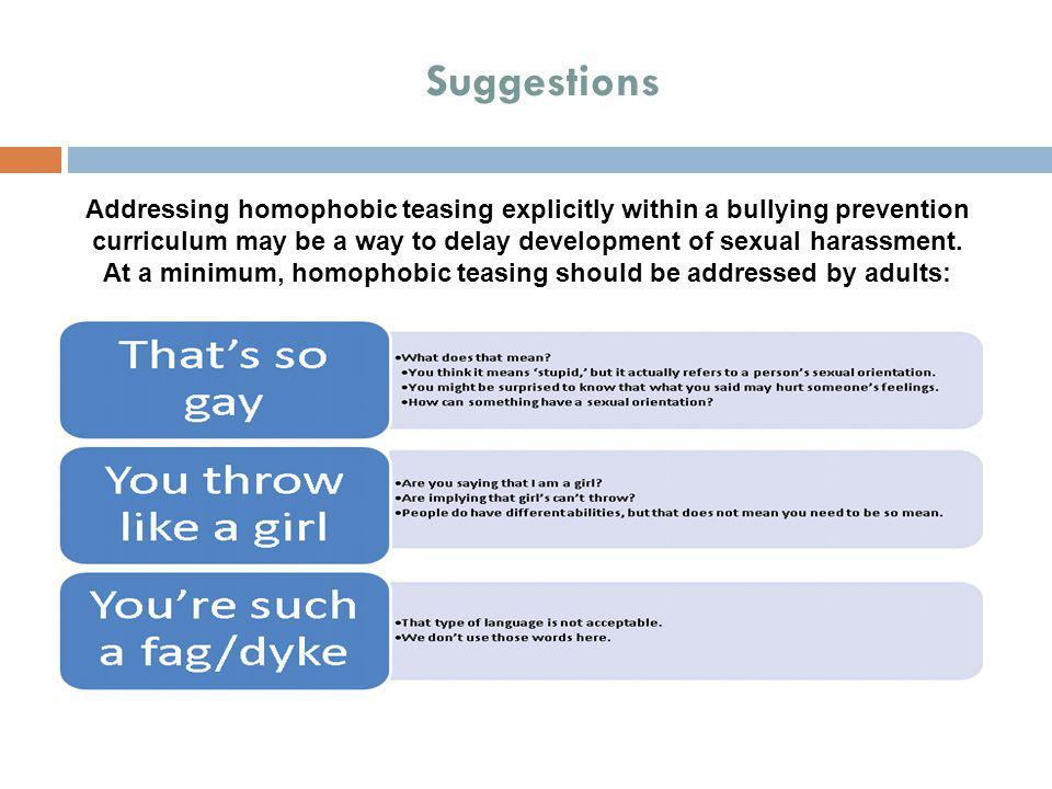 At a minimum, homophobic teasing should be addressed by adults: