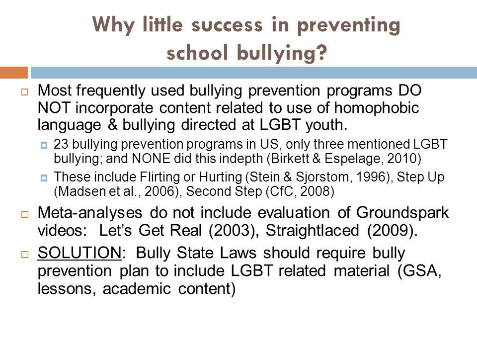Why little success in preventing school bullying