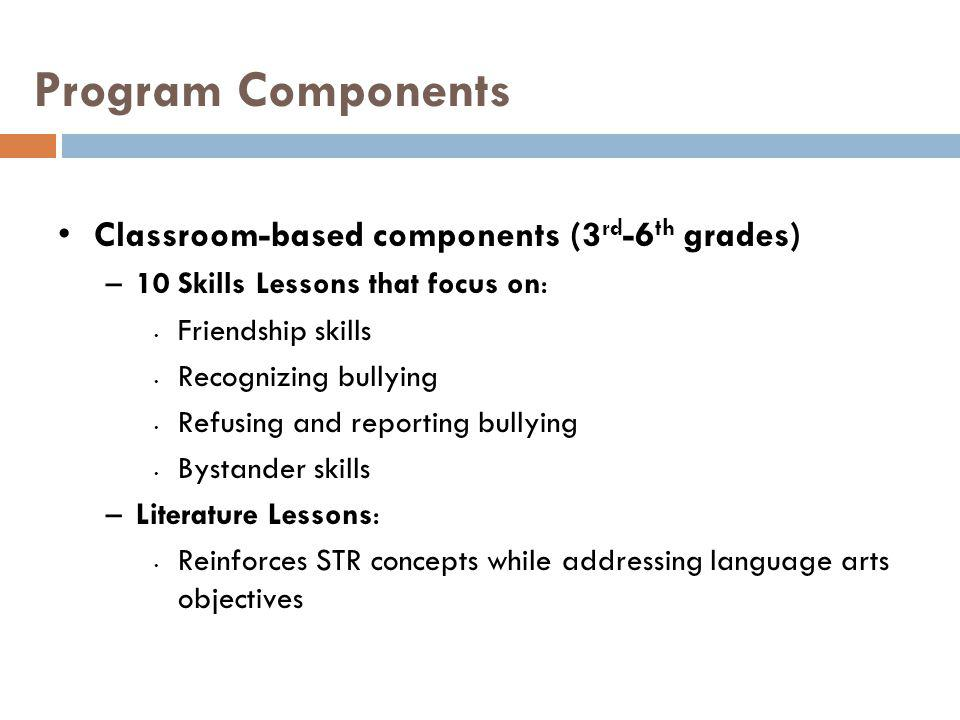 Program Components Classroom-based components (3rd-6th grades)