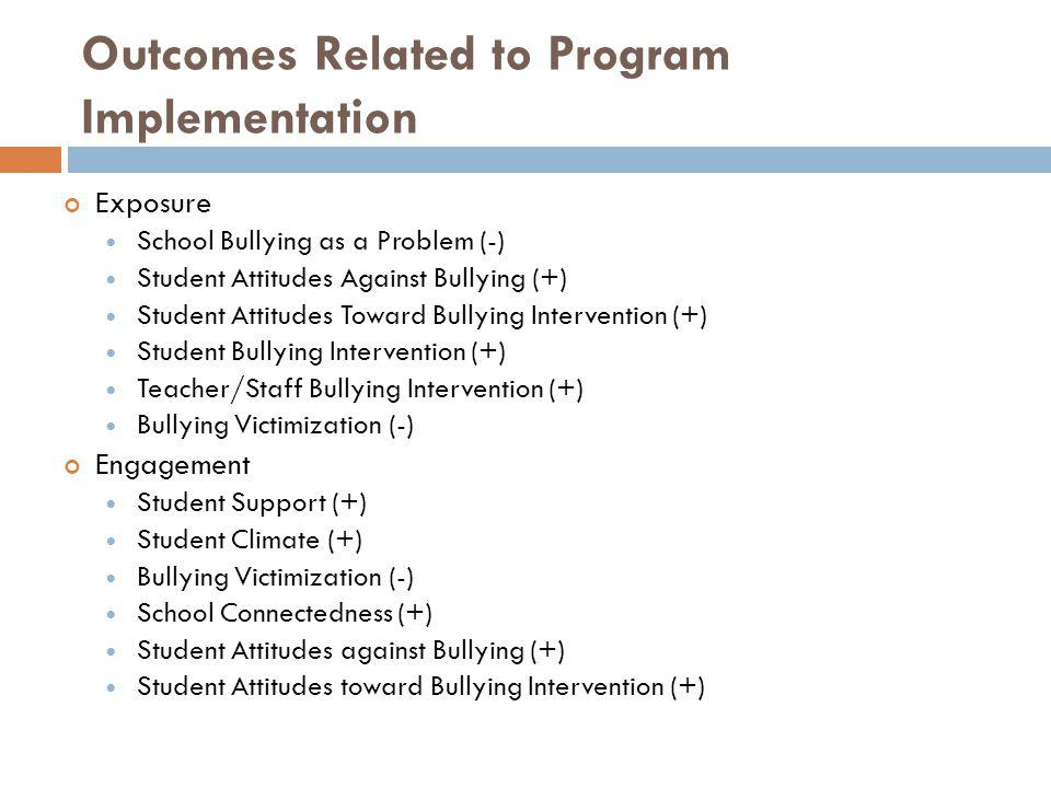 Outcomes Related to Program Implementation