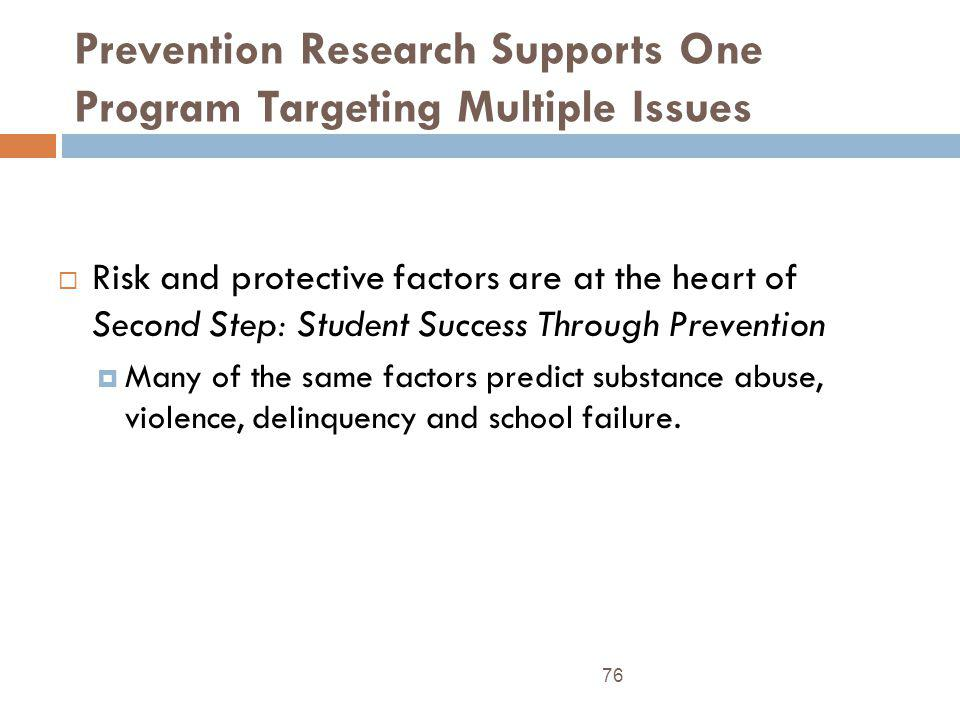 Prevention Research Supports One Program Targeting Multiple Issues