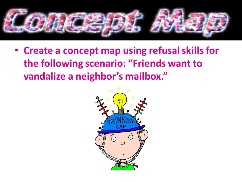Create a concept map using refusal skills for the following scenario: Friends want to vandalize a neighbor's mailbox.