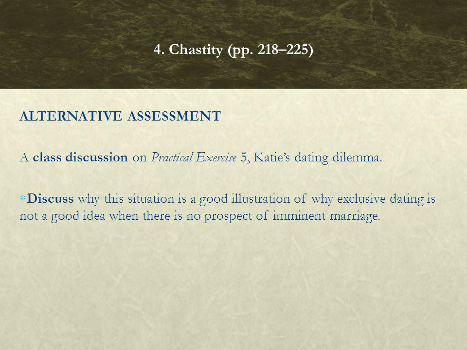 4. Chastity (pp. 218–225) ALTERNATIVE ASSESSMENT