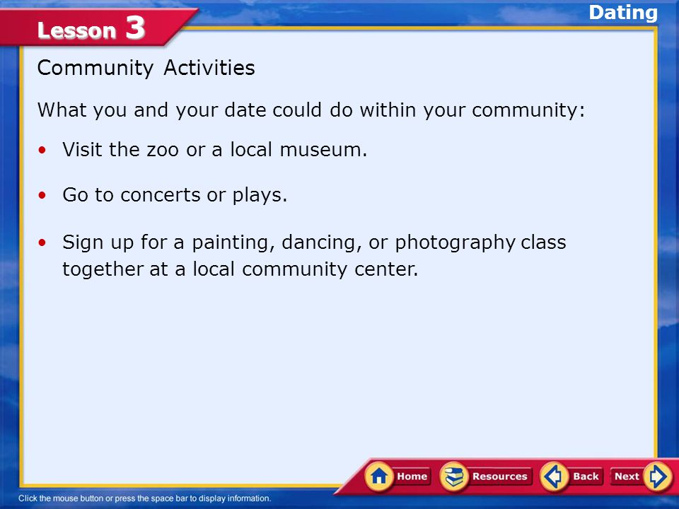 Community Activities Dating
