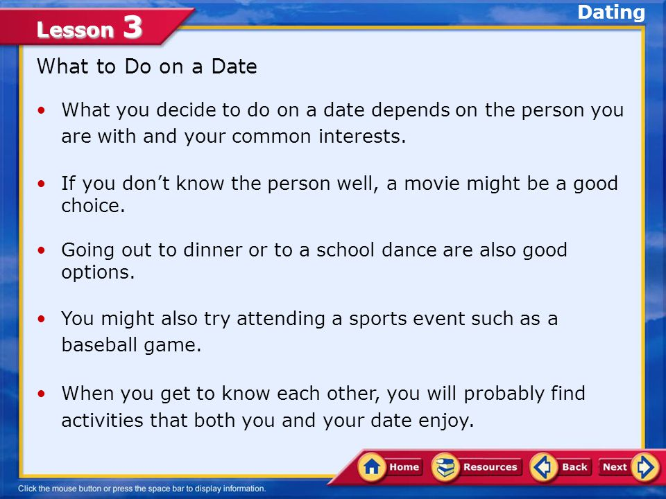 What to Do on a Date Dating