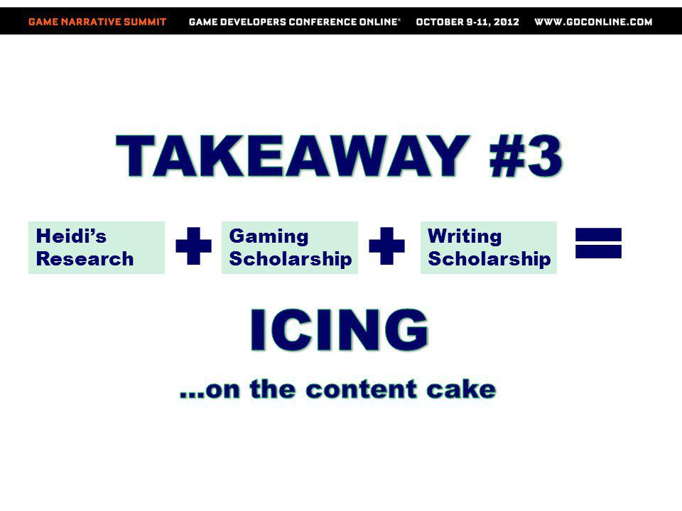 TAKEAWAY #3 ICING …on the content cake Heidi's Research Gaming