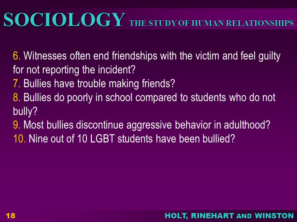 6. Witnesses often end friendships with the victim and feel guilty for not reporting the incident