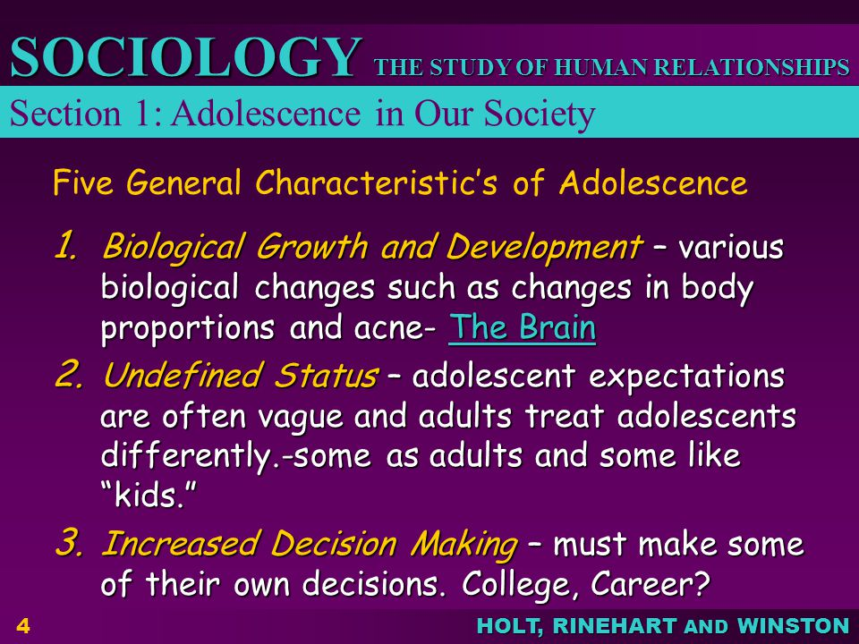 Five General Characteristic's of Adolescence