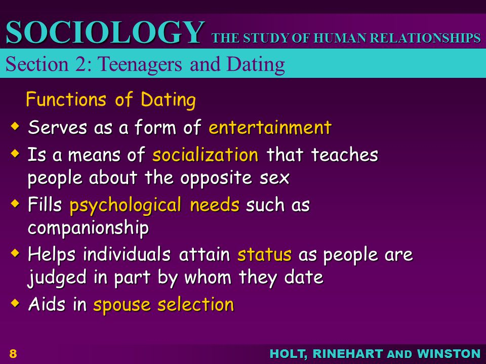 Section 2: Teenagers and Dating