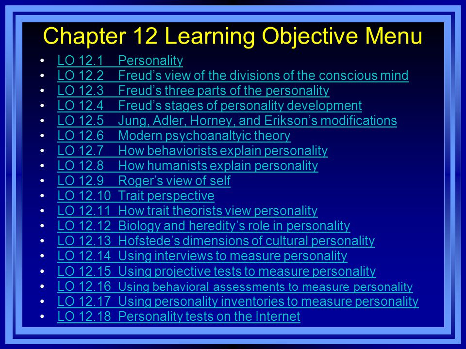 Chapter 12 Learning Objective Menu