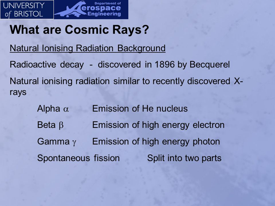 What are Cosmic Rays Natural Ionising Radiation Background