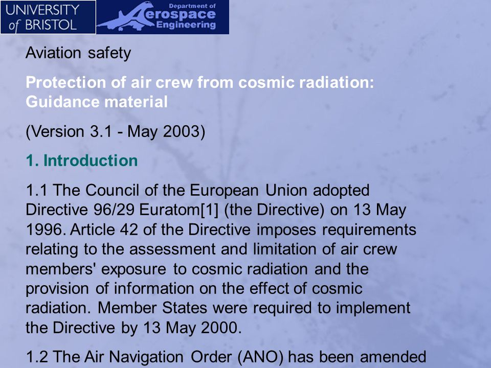 Aviation safety Protection of air crew from cosmic radiation: Guidance material. (Version 3.1 - May 2003)