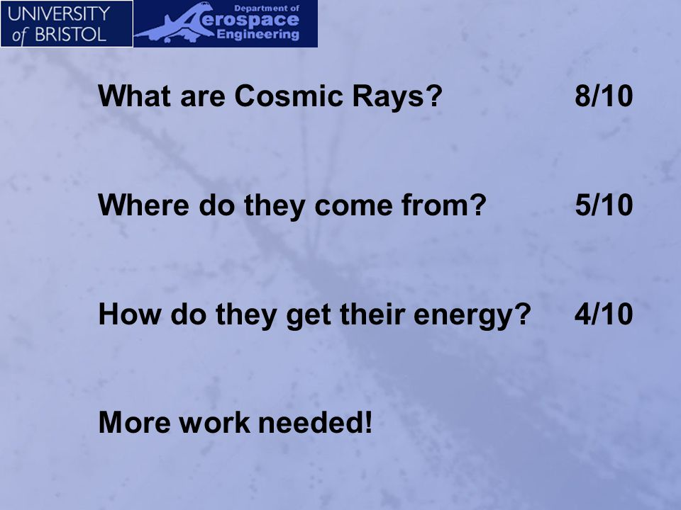 What are Cosmic Rays 8/10 Where do they come from 5/10.