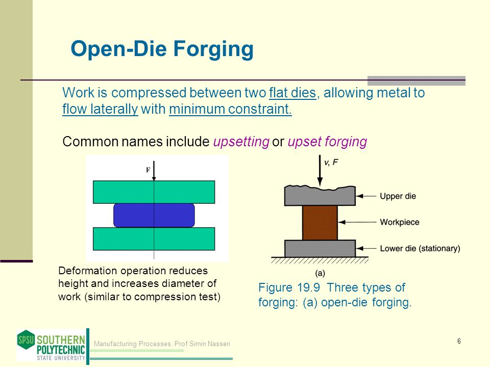 Open-Die Forging Work is compressed between two flat dies, allowing metal to flow laterally with minimum constraint.