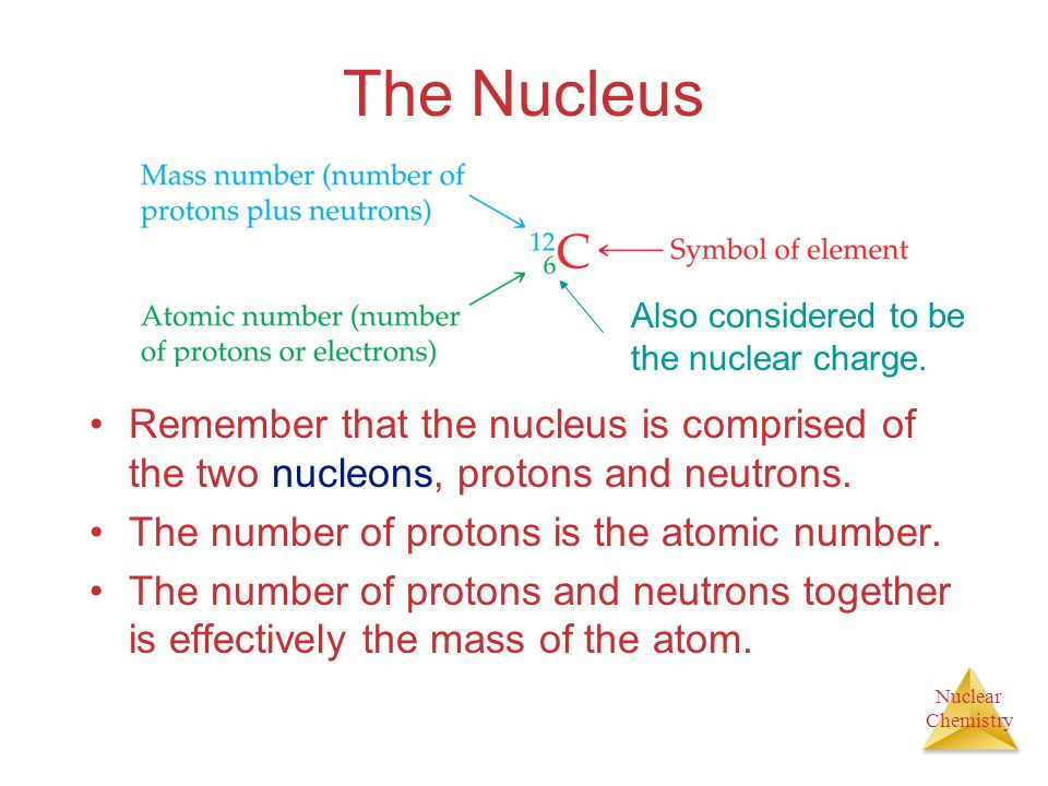 The Nucleus Also considered to be the nuclear charge. Remember that the nucleus is comprised of the two nucleons, protons and neutrons.