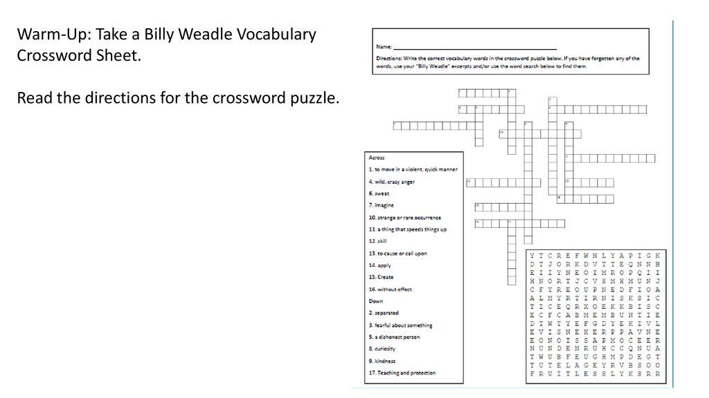 Warm Up Take A Billy Weadle Vocabulary Crossword Sheet