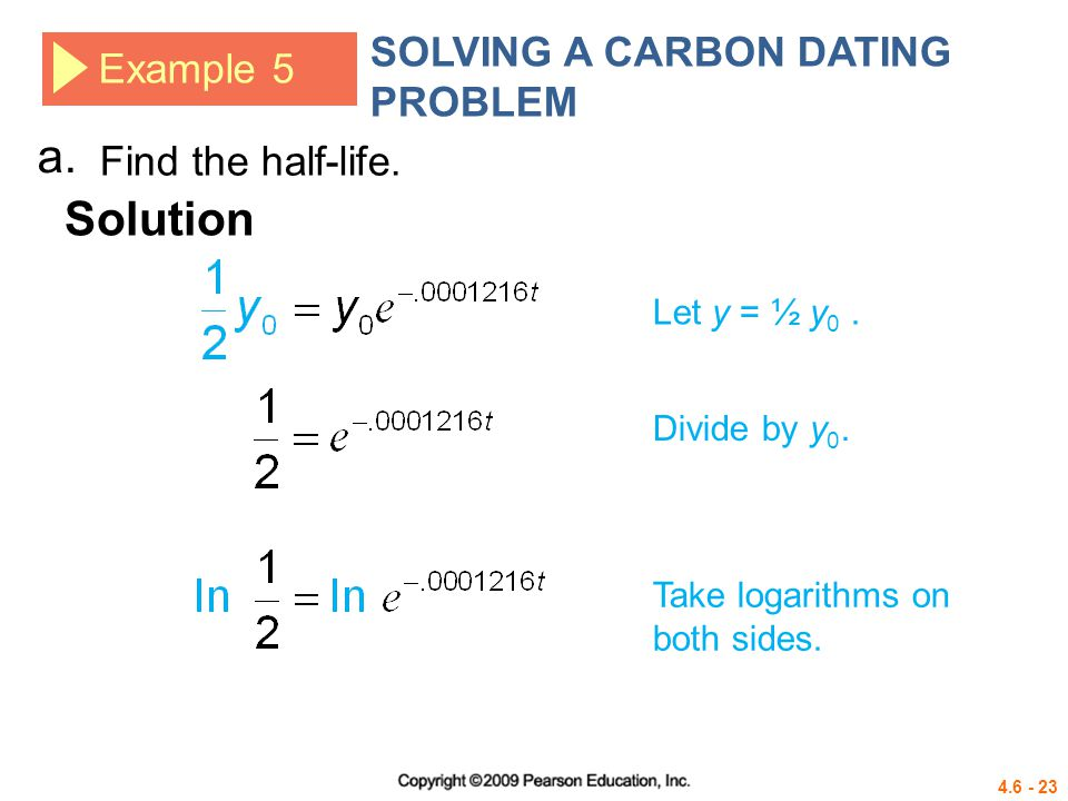 Carbon dating math problem example