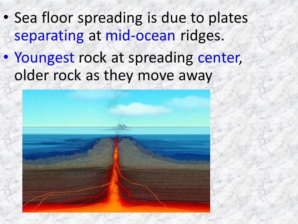 Sea floor spreading is due to plates separating at mid-ocean ridges.