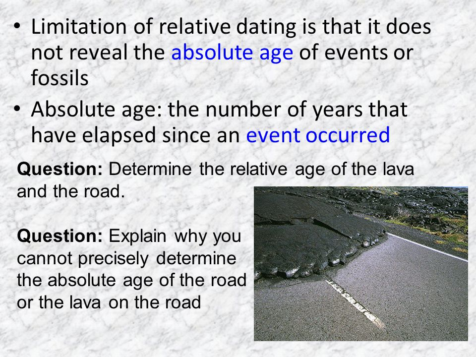 Limitation of relative dating is that it does not reveal the absolute age of events or fossils