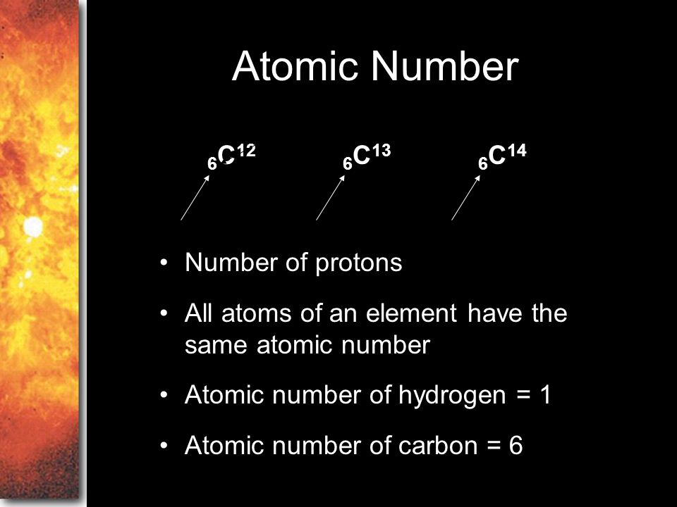Atomic Number 6C12 6C13 6C14 Number of protons