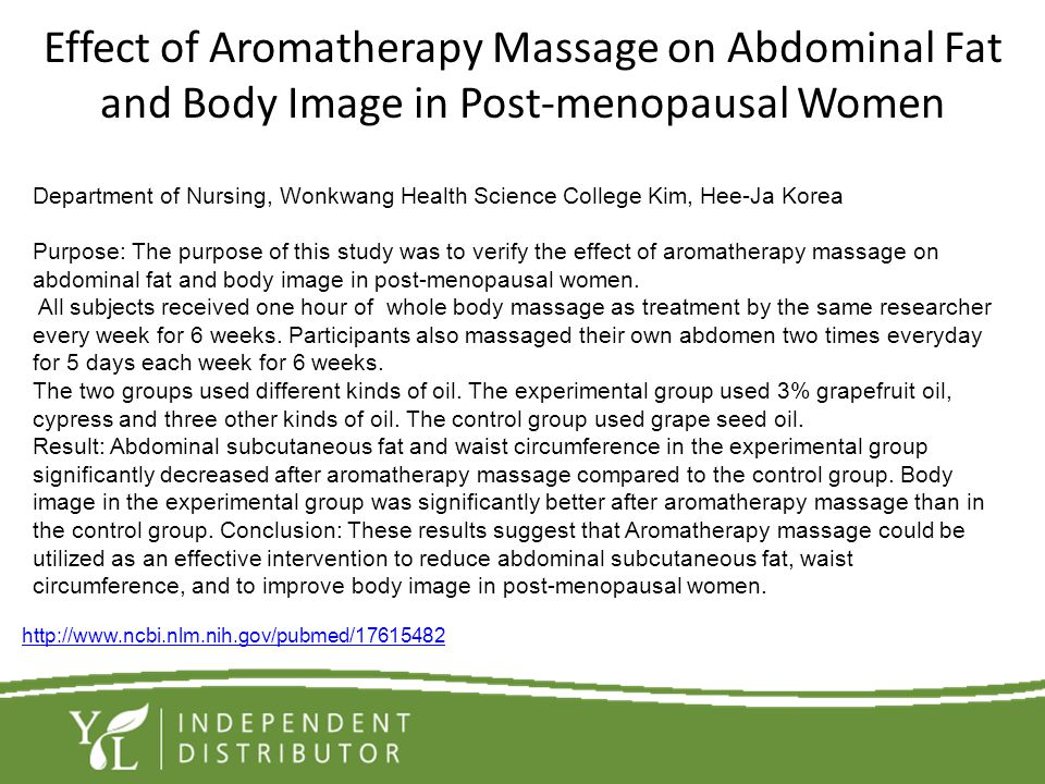 Effect of Aromatherapy Massage on Abdominal Fat and Body Image in Post-menopausal Women