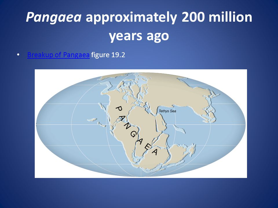 Pangaea approximately 200 million years ago