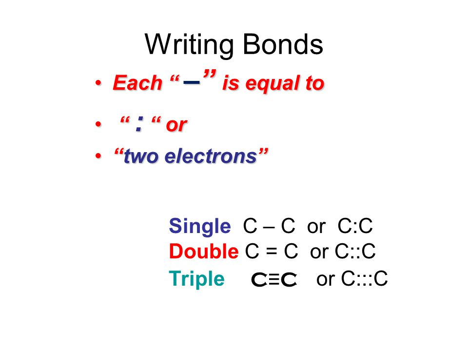 Writing Bonds Each – is equal to : or two electrons