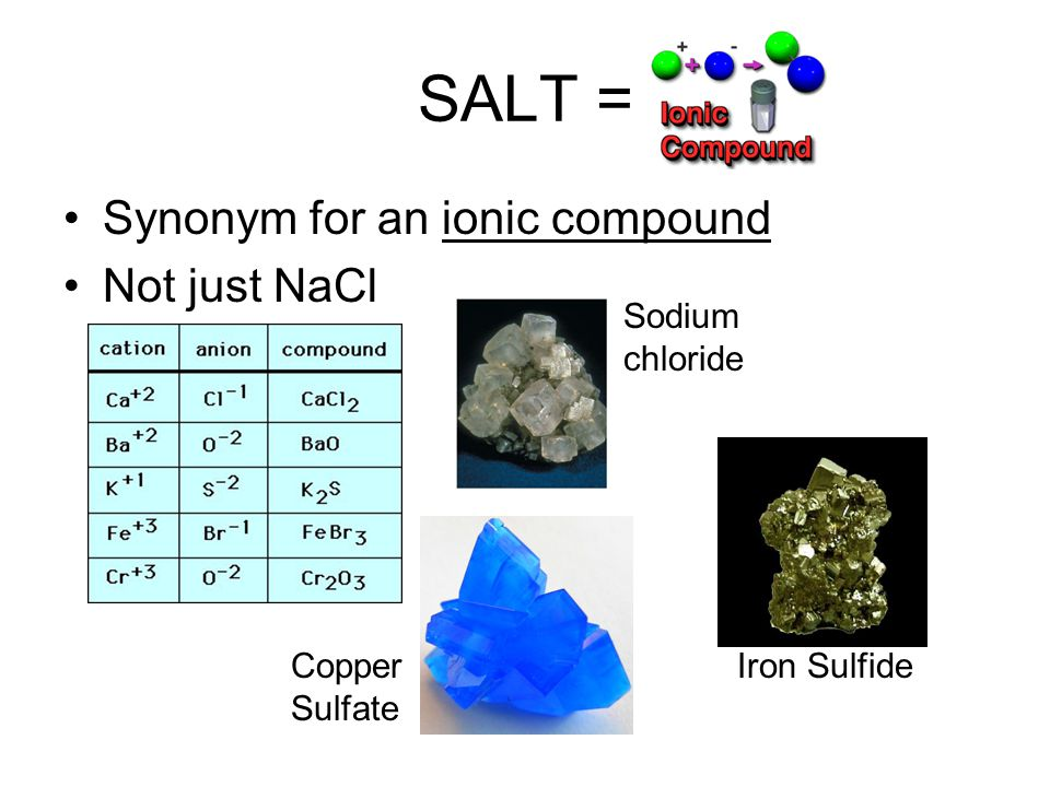 SALT = Synonym for an ionic compound Not just NaCl Sodium chloride