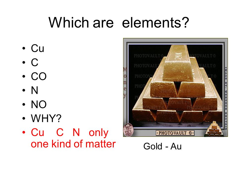 Which are elements Cu C CO N NO WHY Cu C N only one kind of matter