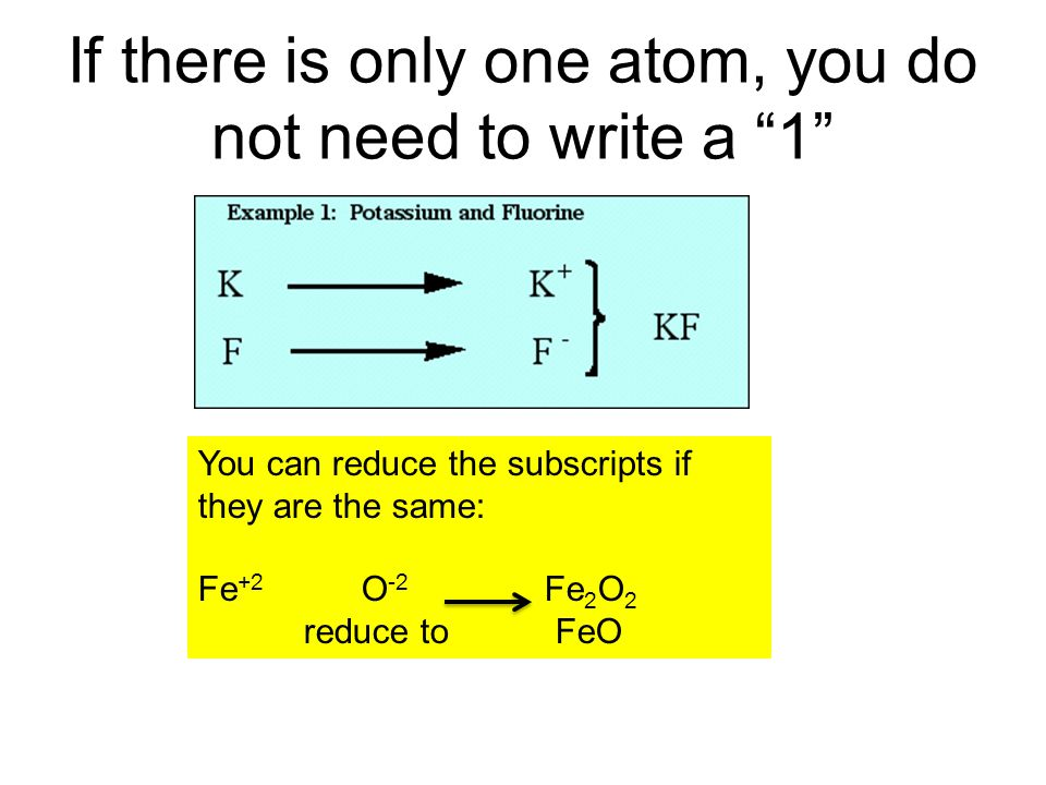 If there is only one atom, you do not need to write a 1